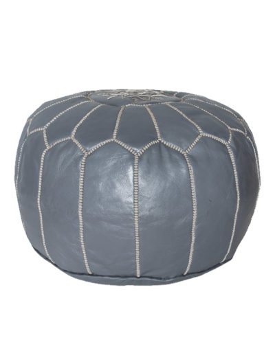 Handmade, artisan leather Pouf from Marrakech, Morocco. Color, Spruce