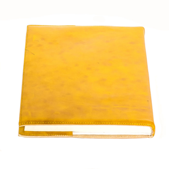 Yellow leather notebook cover_back