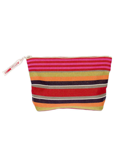 Bright and colorful Artiga stripe pouch, made with eco-friendly dyes. 100% cotton