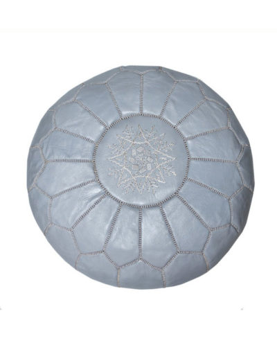 Handmade leather pouf from local artisans in Marrakech, Morocco. Color- Stone